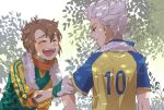bad_id brown_hair closed_eyes endou_mamoru eyes_closed goalkeeper gouenji_shuuya inazuma_eleven inazuma_eleven_(series) kinokooooo male multiple_boys open_mouth raimon short_hair smile soccer_uniform sweat towel white_hair