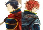 armor axe back_to_back blood blue_eyes blue_hair cape eliwood fire_emblem fire_emblem:_rekka_no_ken gloves headband hector looking_down redhead smile