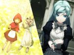 big_bad_wolf_(grimm) blue_eyes blue_hair carnevale_della_luce_della_luna doll game_cg grimm's_fairy_tales little_red_riding_hood little_red_riding_hood_(grimm) long_hair lunaria maid marionette oosaki_shin'ya split_screen