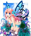 blue_eyes breasts butterfly butterfly_wings cleavage fairy fairy_wings fang flower front-tie_top long_hair moonyan original pink_hair plant pointy_ears ribbon side-tie_bikini solo swimsuit thigh_strap wings