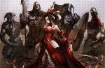 armor black_hair dress pale_skin queen_of_hearts red_eyes suzuya suzuya_akinori weapon