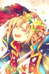 2boys blazblue blonde_hair blush flower gloves hair_flower hair_ornament hand_on_head head_wreath jin_kisaragi kuro_yuzu long_sleeves multiple_boys open_mouth petals ragna_the_bloodedge short_hair solo_focus teeth