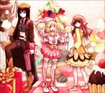 beatmania beatmania_iidx blonde_hair blueberry boots brown_eyes brown_hair candy checkerboard_cookie chocolate cookie cupcake engrish food food_themed_clothes fruit gift green_eyes gun hat heart ice_cream in_food legs legwear_under_shorts lollipop long_hair macaron midriff minigirl multiple_girls nagyi necktie original pantyhose personification ranguage raspberry red_hair redhead shorts skirt swirl_lollipop thigh-highs thighhighs twintails weapon yellow_eyes zettai_ryouiki zipper