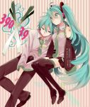 aqua_eyes aqua_hair bad_id detached_sleeves genderswap hatsune_miku hatsune_mikuo headphones headset legs long_hair necktie sitting skirt spring_onion thigh-highs thighhighs twintails very_long_hair vocaloid zettai_ryouiki