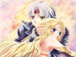 1girl blonde_hair blue_eyes blush celes_chere circlet couple elbow_gloves final_fantasy final_fantasy_vi gloves headband hug lock_cole long_hair nakamasomo