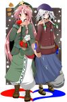 atuuy blush boots braid eating hat heart hong_meiling izayoi_sakuya multiple_girls scarf snow star sukage touhou winter_clothes