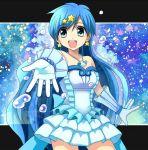 blue_hair dress frills gloves houshou_hanon idol jewelry long_hair mermaid_melody_pichi_pichi_pitch miru necklace
