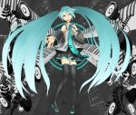 aqua_eyes aqua_hair bad_id detached_sleeves hatsune_miku highres legs long_hair mosh necktie niou_kaoru skirt smile solo thigh-highs thighhighs twintails very_long_hair vocaloid zettai_ryouiki
