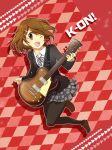 brown_hair checkered checkered_background guitar hirasawa_yui instrument k-on! legs matsyumaro pantyhose school_uniform short_hair solo wink