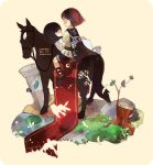 bandage bandages bird black_hair chibi closed_eyes couple dress faux_figurine highres horse long_hair mono poncho red_hair redhead rinju_umisu shadow_of_the_colossus short_hair surcoat wander