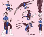 artist_request character_sheet china_dress chinese_clothes chun-li double_bun hyakuretsukyaku kicking pantyhose shoji_(artist) spikes spinning_bird_kick street_fighter