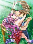 1girl angela armor blush couple duran green_eyes hug long_hair nakamasomo ponytail purple_hair seiken_densetsu seiken_densetsu_3 sword weapon