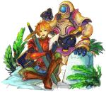 2boys armor artist_request blue_eyes boots cyclops hero_(sd1) knee_boots marshall marshall_(sd1) marshall_(seiken_densetsu) open_mouth orange_hair paper robot seiken_densetsu seiken_densetsu_1 shield sitting sword weapon