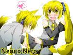 akita_nero akita_neru animal_ears blush long_hair male nero short_hair signed skirt skirt_lift tail vocaloid white yellow_eyes