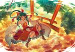 1girl ascot black_hair boots bow brown_hair clouds detached_sleeves falling frilled_skirt full_body gohei hair_bow hair_tubes hakurei_reimu long_hair rain reflection shrine skirt skirt_set solo torii touhou tree wide_sleeves zounose