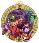 anklet arabian_clothes beard bird blonde_hair blue_eyes blue_skin bolo_(shantae) bracer brown_eyes cannon character_request coat crop_top crossed_arms earrings everyone facial_hair genie goggles green_hair harem_outfit harem_pants hat headband hood jewelry king_of_unlucky lamp midriff mimic_(shantae) navel octopus pirate pirate_hat purple_hair red_eyes risky_boots rottytops shantae shantae_(character) shantae_(series) ship skull_and_crossbones sky_(shantae) smile squid_baron tank_top tinkerbat tongue tongue_out white_hair wink wrench_(shantae) yellow_sclera zombie