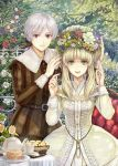 1girl blonde_hair couple cup dress elisabeth_von_wettin flower head_wreath libert long_hair marchen marz_von_ludowing nature ponytail red_eyes saucer silver_hair smile sound_horizon teacup teapot tree yellow_eyes