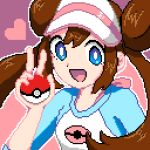 1girl blue_eyes bow brown_hair double_bun hair_between_eyes hat heart holding holding_poke_ball long_hair mei_(pokemon) open_mouth pink_background pink_bow pixel_art pixelated poke_ball poke_ball_(generic) pokemon pokemon_(game) pokemon_bw2 raglan_sleeves smile solo twintails very_long_hair visor_cap zityougadekinai