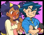1boy 1girl amada angry black_hair blouse blue_hair blush brown_eyes child couple crossed_arms dark_skin embarrased embarrassed fingerless_gloves gloves grin hair_ornament iris_(pokemon) jacket jealous jealousy long_hair no_hat no_headwear open_mouth pokemon pokemon_(anime) pokemon_black_and_white pokemon_bw purple_background purple_hair satoshi_(pokemon) simple_background sleeves smile smirk spiked_hair sweat sweatdrop troll_face two_side_up very_long_hair