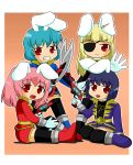 4girls animal_ears aqua_hair blonde_hair bunny_ears carrot eyepatch gun kaizoku_sentai_gokaiger multiple_girls nekomaru_fubuki parody pink_hair purple_hair red_eyes siesta00 siesta410 siesta45 siesta556 siesta_sisters super_sentai sword thigh-highs thighhighs twintails umineko_no_naku_koro_ni weapon zettai_ryouiki
