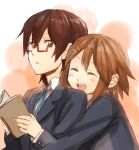 :o blush book brown_hair closed_eyes eyes_closed female from_behind fukutarou_(enji127) glasses half_rim_glasses happy hirasawa_yui hug hug_from_behind k-on! manabe_nodoka multiple_girls open_book open_mouth red-framed_glasses school_uniform semi-rimless_glasses serious short_hair smile under-rim_glasses uniform yuri