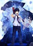 ao_no_exorcist blue_hair glasses okumura_rin open_mouth short_hair tagme yashiro_seika