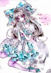 bow brown_hair dress flower frills hair_bow large_bow long_hair miri pantyhose red_eyes reiuji_utsuho solo touhou traditional_media watercolor_(medium) wings