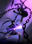 2girls bikini_top black_hair black_rock_shooter black_rock_shooter_(character) blue_eyes boots chain chains coat dead_master gloves green_eyes high_heels highres horns long_hair multiple_girls pants shoes shorts sword twintails weapon