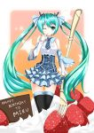 aqua_eyes aqua_hair black_legwear cake chocolate detached_sleeves fatkewell finger_to_mouth food foreshortening fruit hair_ribbon hatsune_miku highres necktie oversized_object plaid ribbon skirt solo star strawberry thigh-highs thighhighs vocaloid whipped_cream wink