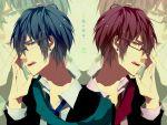 akaito blue_hair glasses kaito male red_hair redhead seifuku short_hair vocaloid