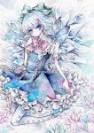 argyle argyle_legwear bow cirno crystal dress hair_bow ice miri solo touhou traditional_media watercolor_(medium) wings