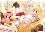 blonde_hair boots charlotte_(madoka_magica) chocolate dual_persona ears food fruit genderswap gradient_hair grief_seed kyubey long_hair lying mahou_shoujo_madoka_magica midriff missa_yuya multicolored_hair navel on_back personification pink_hair shorts strawberry thigh-highs thighhighs twintails
