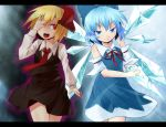 aura ayagi_daifuku blonde_hair blue_eyes blue_hair bow cirno detached_sleeves dress fang hair_bow hair_ribbon hand_over_eye ice ice_wings long_sleeves multiple_girls neck_ribbon necktie open_mouth red_eyes ribbon rumia short_hair side-by-side skirt the_embodiment_of_scarlet_devil touhou wings youkai