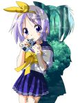 blush hair_ribbon highres hiiragi_tsukasa hirasawa_ui juice_box k-on! looking_at_viewer lucky_star pleated_skirt purple_eyes purple_hair ribbon rindou_(awoshakushi) school_uniform serafuku short_hair silhouette skirt solo violet_eyes