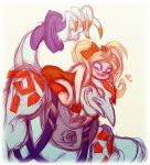 blonde_hair bow busterella couple effie grin hair_bow heart long_nose necro necro_(street_fighter) simple_background sitting sitting_on_head sitting_on_person size_difference smile street_fighter street_fighter_iii tattoo twintails