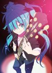 aqua_eyes aqua_hair blue_hair foreshortening guitar hair_over_one_eye hair_ribbon hatsune_miku instrument jewelry long_hair nagareboshi necklace pants ribbon sleeves_rolled_up smile solo twintails very_long_hair vocaloid wristband