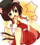 animal_ears brown_eyes brown_hair cat_ears cat_tail chen fang hat purin_jiisan solo tail touhou