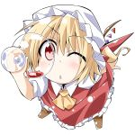 :< ;< ascot bibi blonde_hair blush chibi cup face flandre_scarlet foreshortening hat red_eyes simple_background solo the_embodiment_of_scarlet_devil touhou wine_glass wings wink