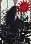 black_rose black_rose_(flower) dated elsa_maria_(madoka_magica) flower hands_clasped mahou_shoujo_madoka_magica personification praying rose sanmi_tenten sebastians_(madoka_magica) signature stained_glass window