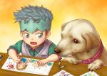 1boy arnold_(jojo) black_hair child child_drawing crayon dog drawing grey_eyes grey_hair hatakeyama_0222 headband jojo_no_kimyou_na_bouken kishibe_rohan sugimoto_reimi sweater_vest young