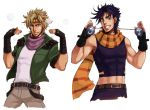 2boys black_hair blonde_hair bola_(weapon) boots bubble caesar_anthonio_zeppeli facial_mark feathers fingerless_gloves gloves green_eyes green_jacket headband jacket jojo_no_kimyou_na_bouken joseph_joestar_(young) midriff multiple_boys saburo scarf