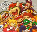 crown facial_hair gloves grin hat laughing luigi mario mustache naco24 princess_daisy princess_peach smile super_mario_bros. waluigi wario