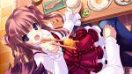blush brown_hair chopsticks dress food game_cg hinamidori_chiwa lap_sitting open_mouth pantyhose pochi_to_goshujin-sama purple_eyes skyfish tsurugi_hagane violet_eyes