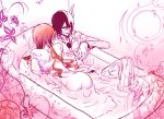 ass bath black_hair bleach claw_foot_bathtub espada facial_mark green_eyes inoue_orihime kuronomine long_hair love orange_hair orihime_inoue sexy skull ulquiorra_cifer white_skin