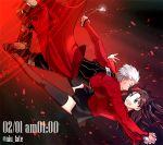 1boy 1girl archer brown_hair fate/stay_night fate_(series) magic_circle niu_illuminator red thigh-highs toosaka_rin two_side_up white_hair