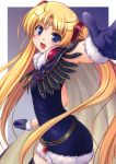 absurdres aiyoku_no_eustia artist_request august_soft bekkankou blonde_hair blue_eyes cape character_request colo gloves hair_ornament highres licia_de_novus_yurii long_hair open_mouth smile thighhighs tiara