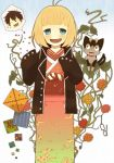 blonde_hair blue_eyes blush cat flower glasses ibo_(tototoii) jacket japanese_clothes kimono kuro_(ao_no_exorcist) moriyama_shiemi okumura_rin open_mouth short_hair sleeves_past_wrists smile