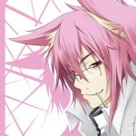 animal_ears blazblue candy cat_ears catboy fang genderswap glasses kokonoe lollipop male md5_mismatch pink_hair red_eyes simple_background smile solo wara@