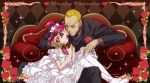 argyle_background blonde_hair brown_background bunbee chocolate chocolate_heart couch dress flower formal frills gathers hand_on_another's_face hand_on_face happy_valentine heart height_difference maeashi pantyhose pink_hair precure purple_eyes red_rose rose ruffles shoes short_hair short_twintails sitting sitting_on_lap sitting_on_person smile sparkle suit twintails two_side_up valentine violet_eyes white_legwear wink yes!_precure_5 yumehara_nozomi
