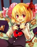 blonde_hair blush box fang gift gift_box hair_ribbon mary_janes murani open_mouth pillow red_eyes red_shoes ribbon rumia shirt shoes short_hair skirt skirt_set solo the_embodiment_of_scarlet_devil touhou vest youkai